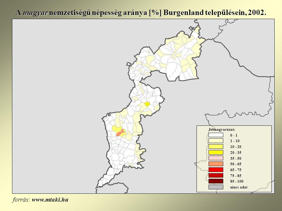 A magyar nemzetiségű népesség aránya [%] Burgenland településein, 2002.